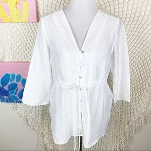 Cut loose linen button front 3/4 sleeve blouse s